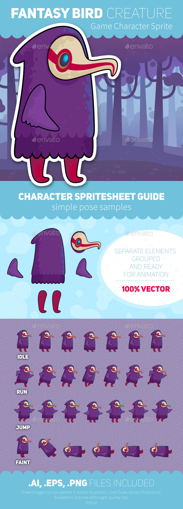 Game Character Sprite Sheet - Vectors