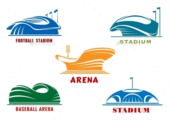 Icons Of Modern Sport Stadiums And Arenas - Buildings Objects