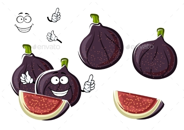 Ripe Purple Fig Fruits Cartoon Character - Food Objects