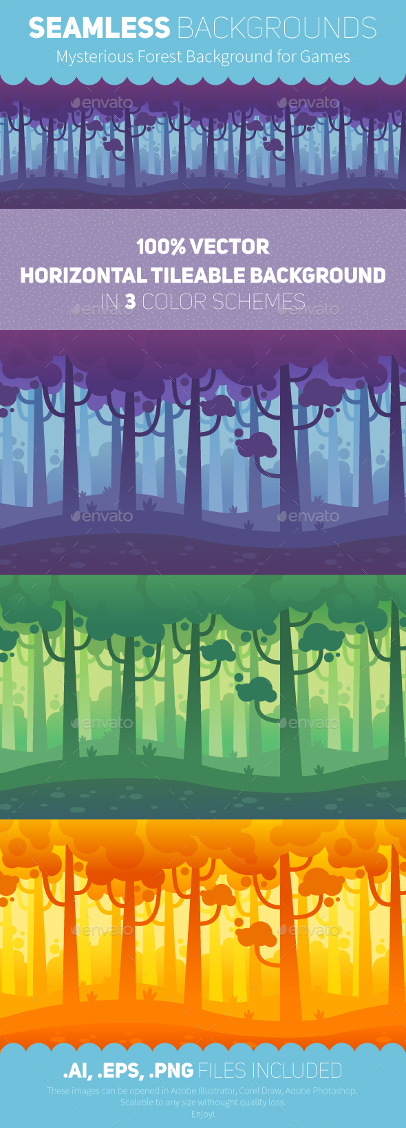 Game Seamless Forest Backgrounds - Vectors