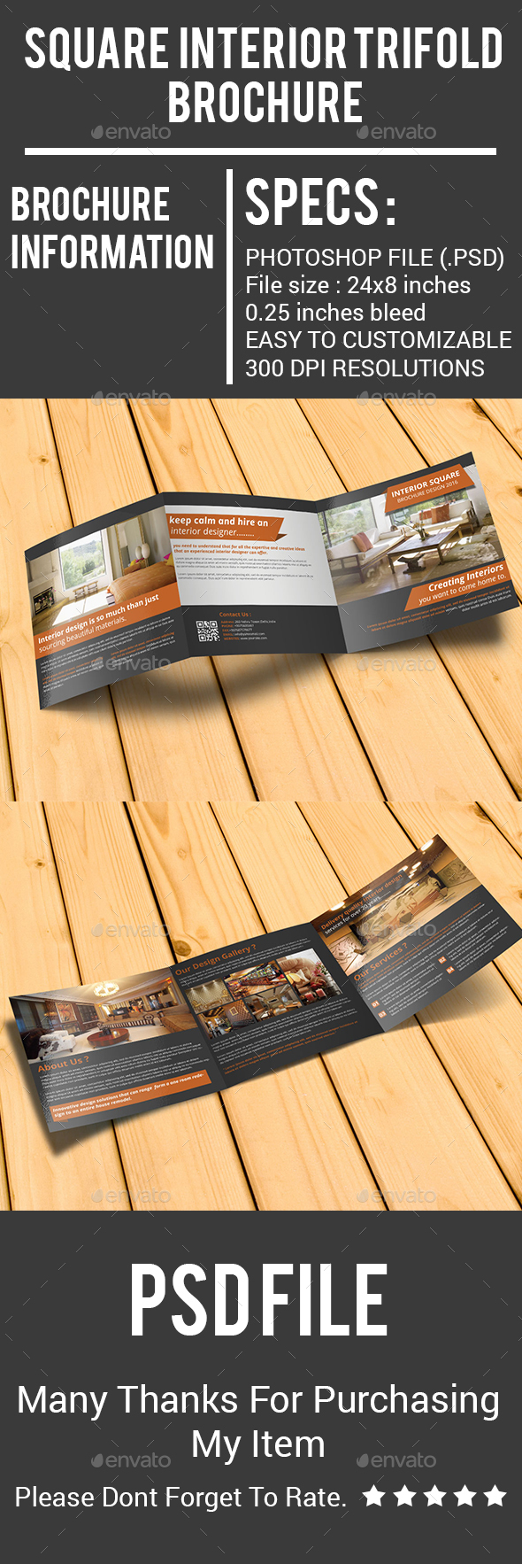 Square Interior Trifold Brochure - Corporate Brochures