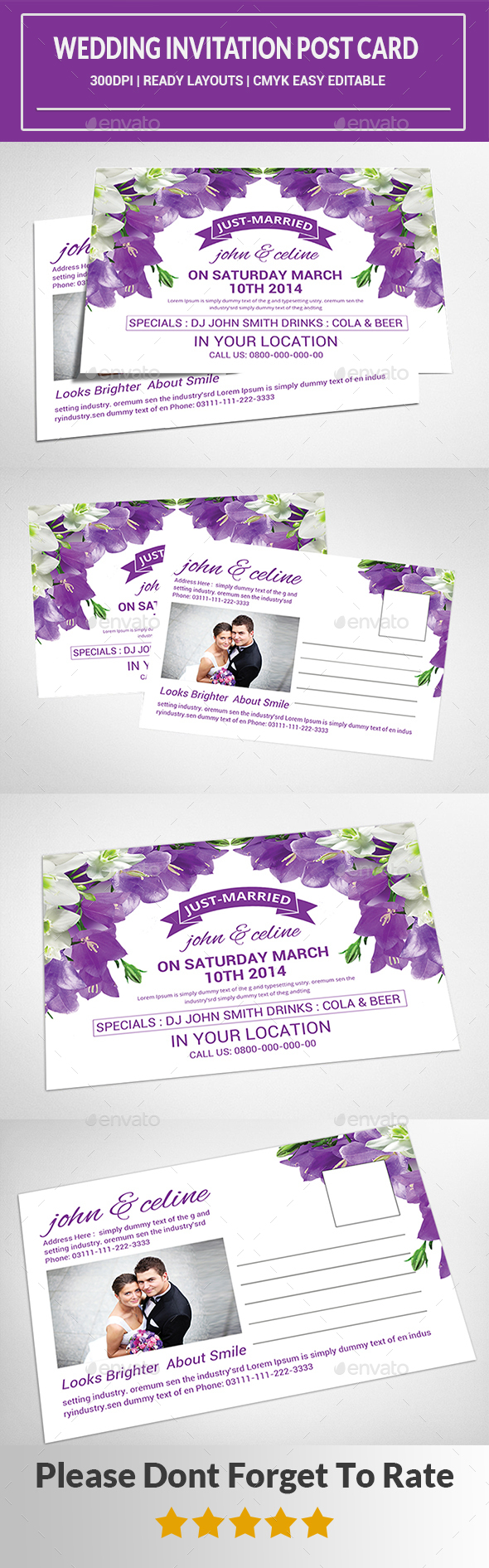 Wedding Invitation Post Card  - Cards & Invites Print Templates