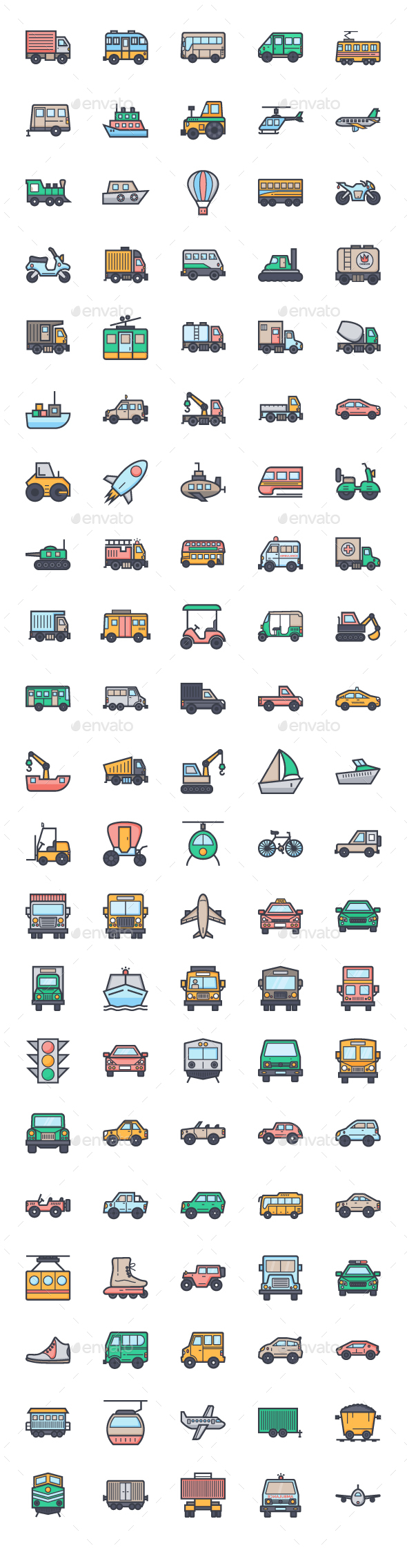 100+ Flat Transport Icons Set - Objects Icons