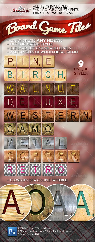 Word Game Board Tiles Set - Sprites Game Assets