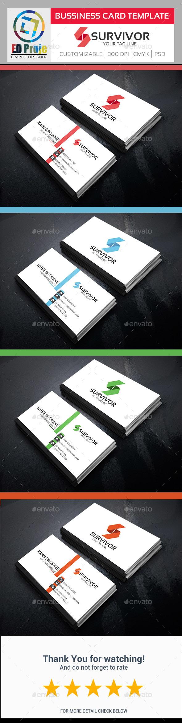 Survivor Business Card - Business Card Template - Corporate Business Cards