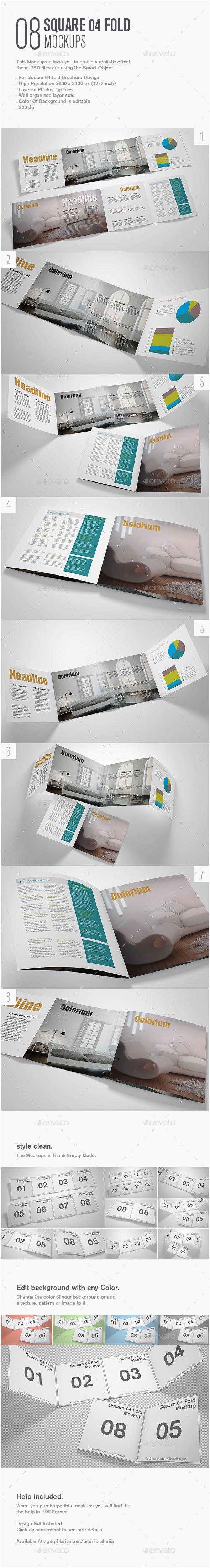 Square 04 Fold Mockup - Brochures Print