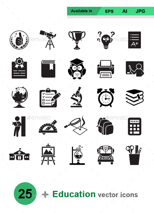 Education vector icons - Man-made objects Objects