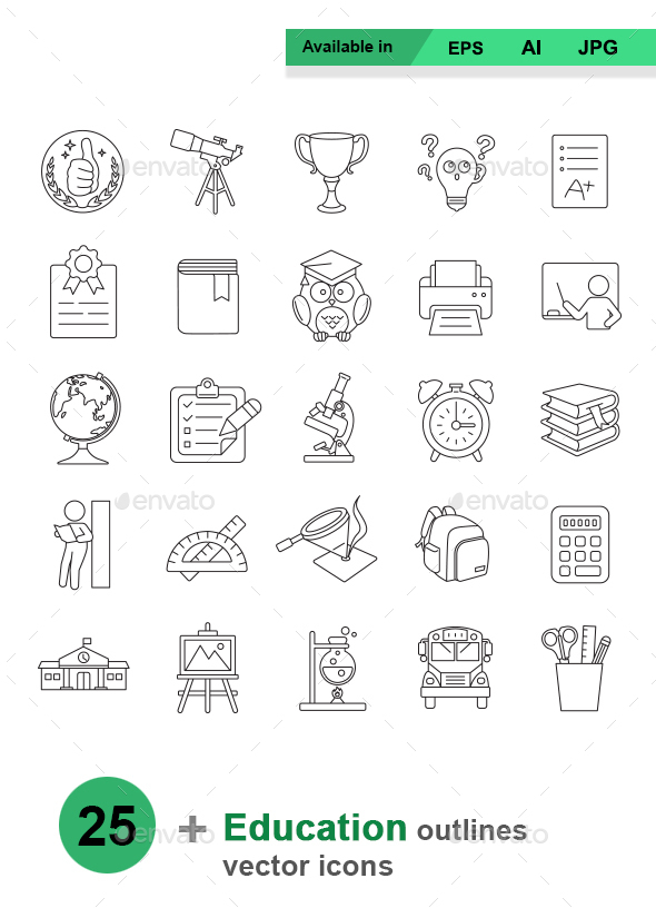 Education outlines vector icons - Man-made objects Objects