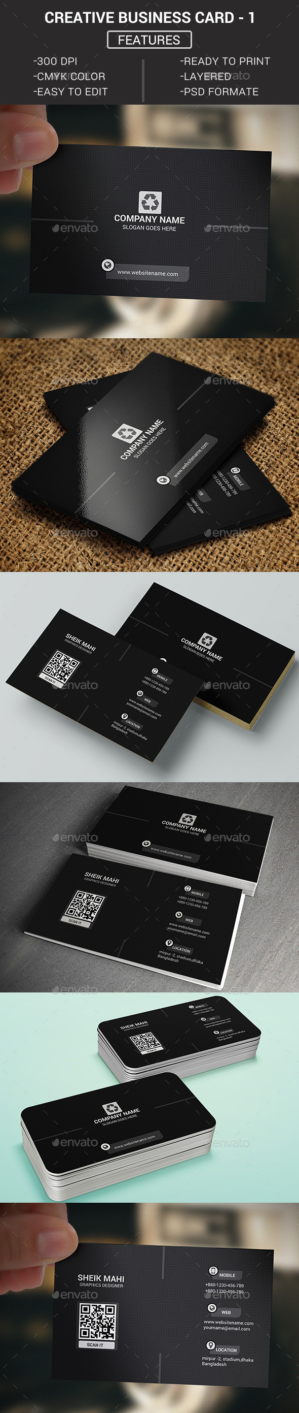Creative Business Card -1 - Business Cards Print Templates