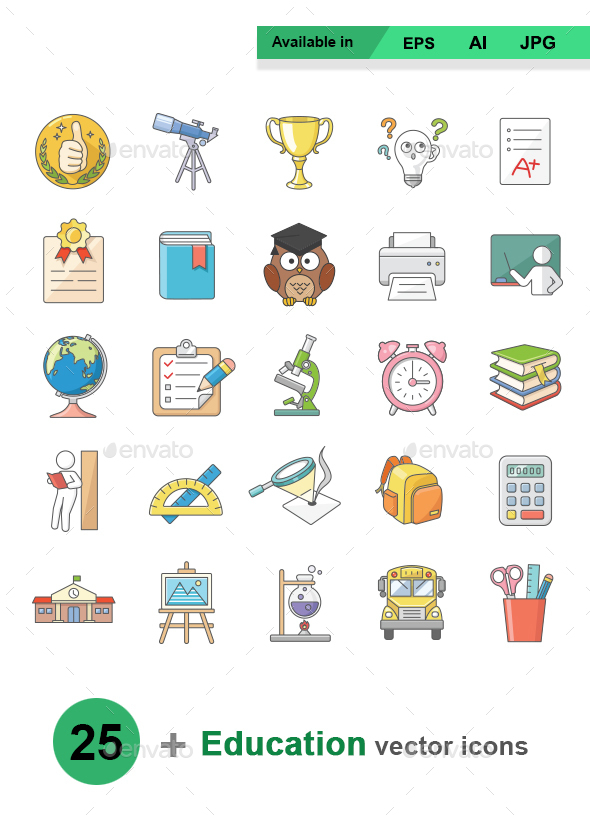 Education colors vector icons - Man-made objects Objects