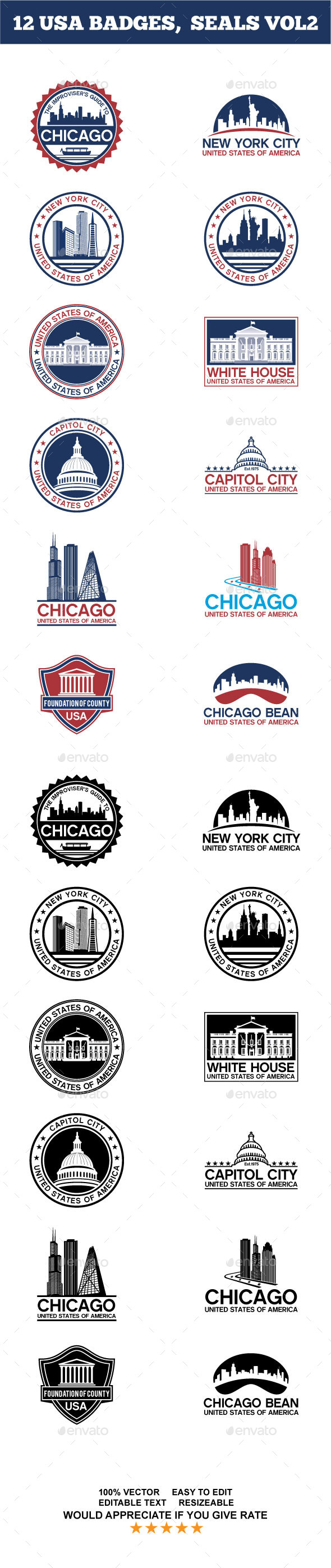 12 USA BADGES, SEALS VOL2 - Badges & Stickers Web Elements