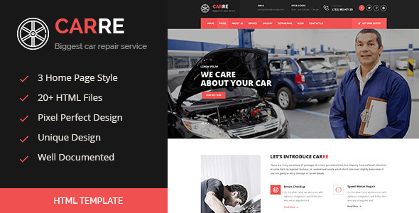 Car RE – Auto Mechanic & Car Repair HTML Template