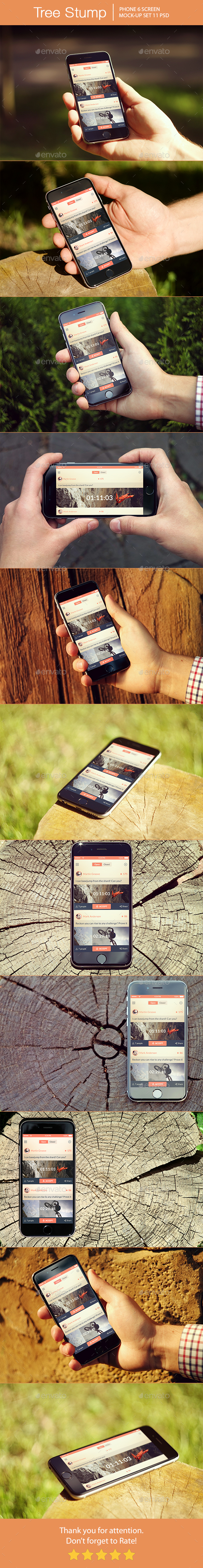 Tree Stump iPhone 6 Mockup - Mobile Displays