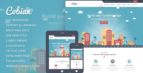 Cobian - Flat Bootstrap Landing WordPress Theme - Marketing Corporate