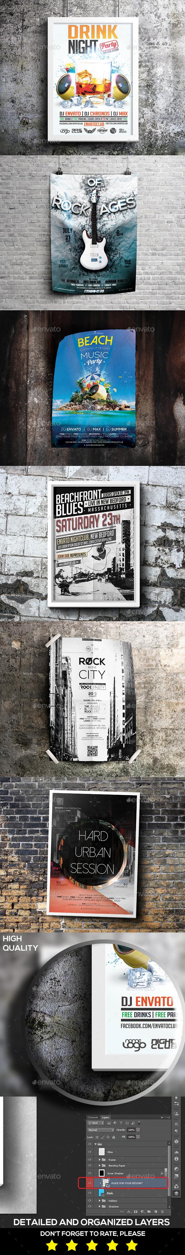 Grunge Poster & Flyer Mockup - Posters Print