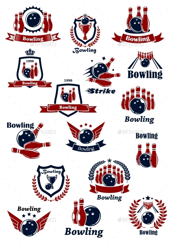 Bowling Club or Tournament Icons and Symbols - Sports/Activity Conceptual