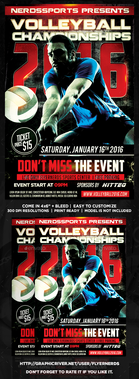 Volleyball Championships 2016 Sports Flyer - Sports Events