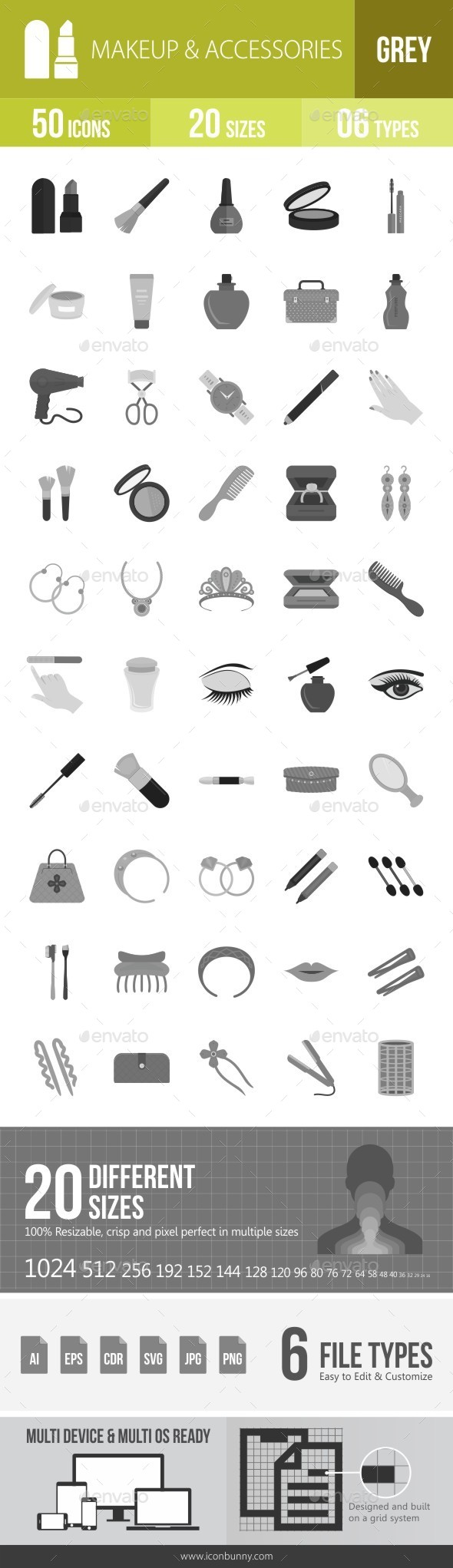 Makeup & Accessories Greyscale Icons - Icons