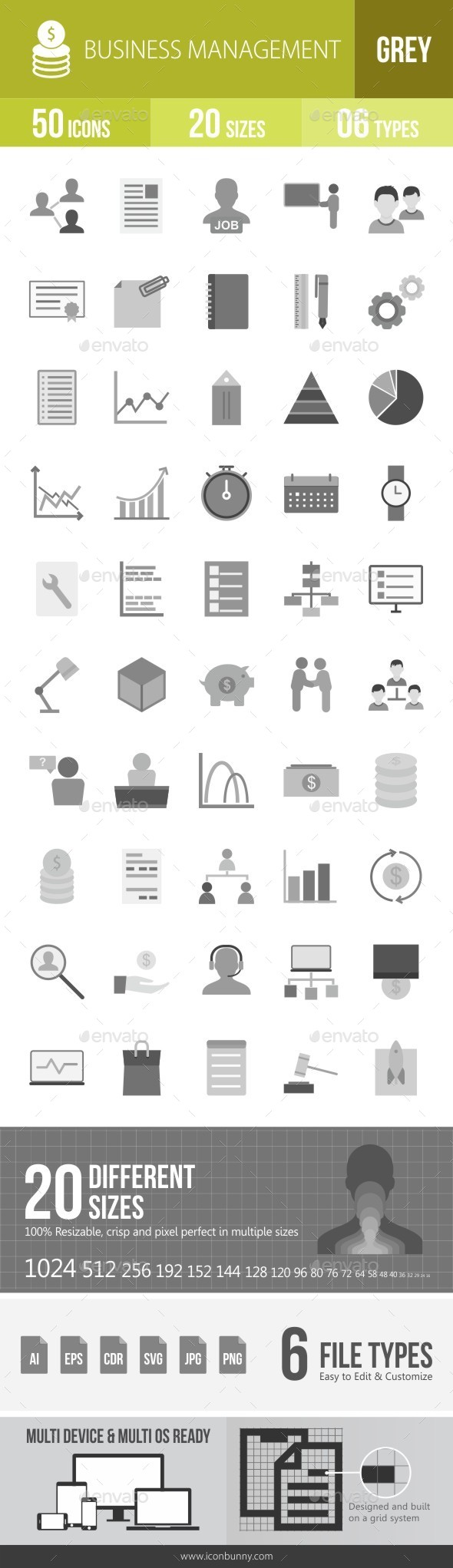 Business Management Greyscale Icons - Icons