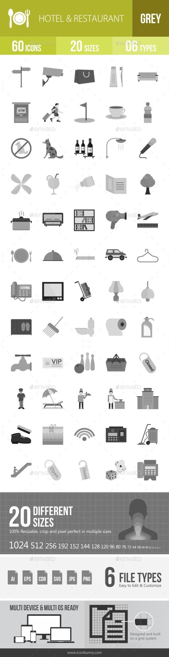 Hotel & Restaurant Greyscale Icons - Icons
