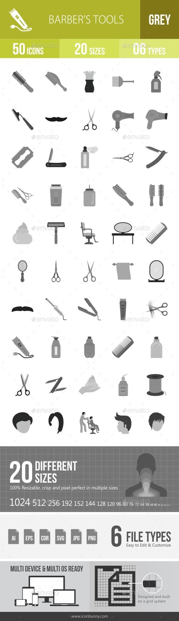 Barber's Tools Greyscale Icons - Icons