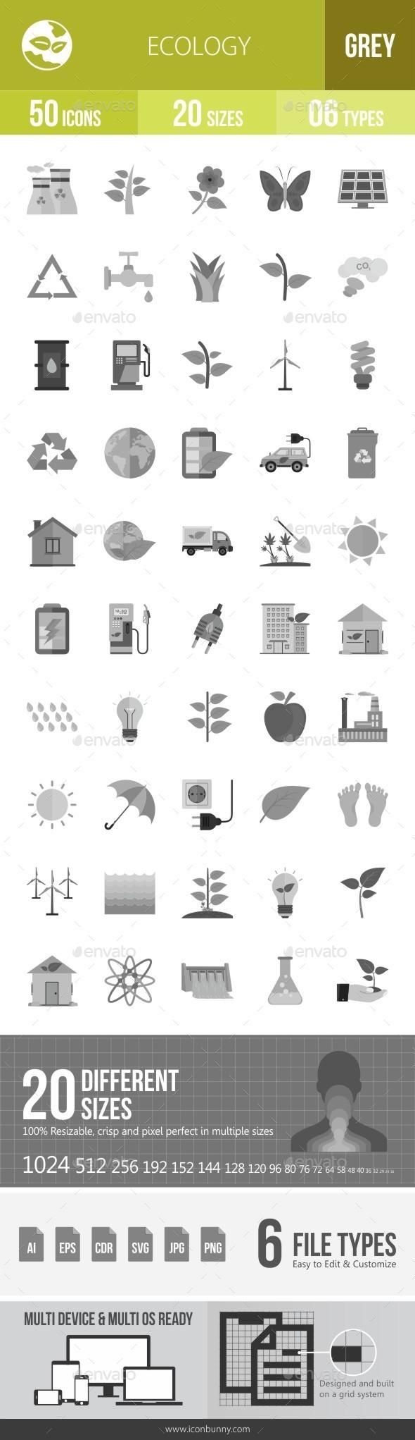 Ecology Greyscale Icons - Icons