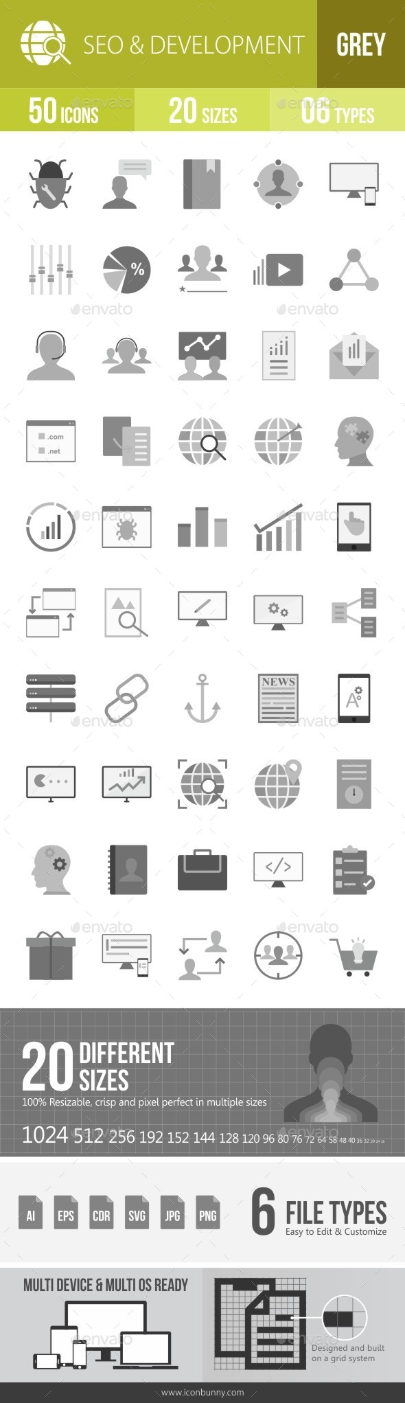 SEO & Development Services Greyscale Icons - Icons