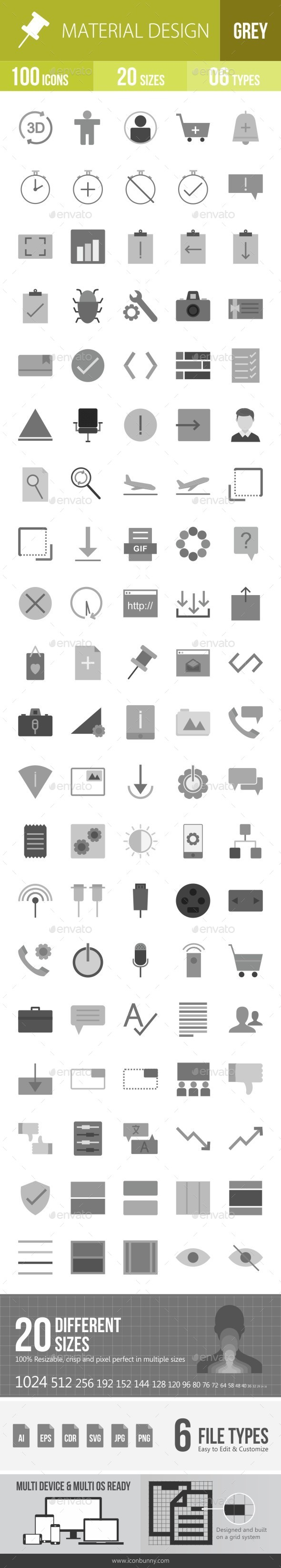 Material Design Greyscale Icons - Icons