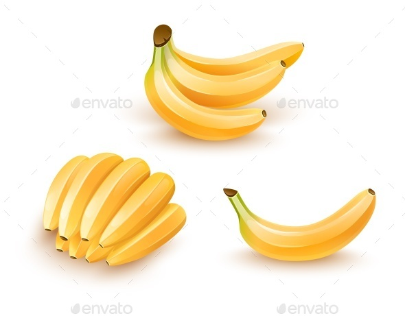 Set of Isolated Banana Fruits - Food Objects