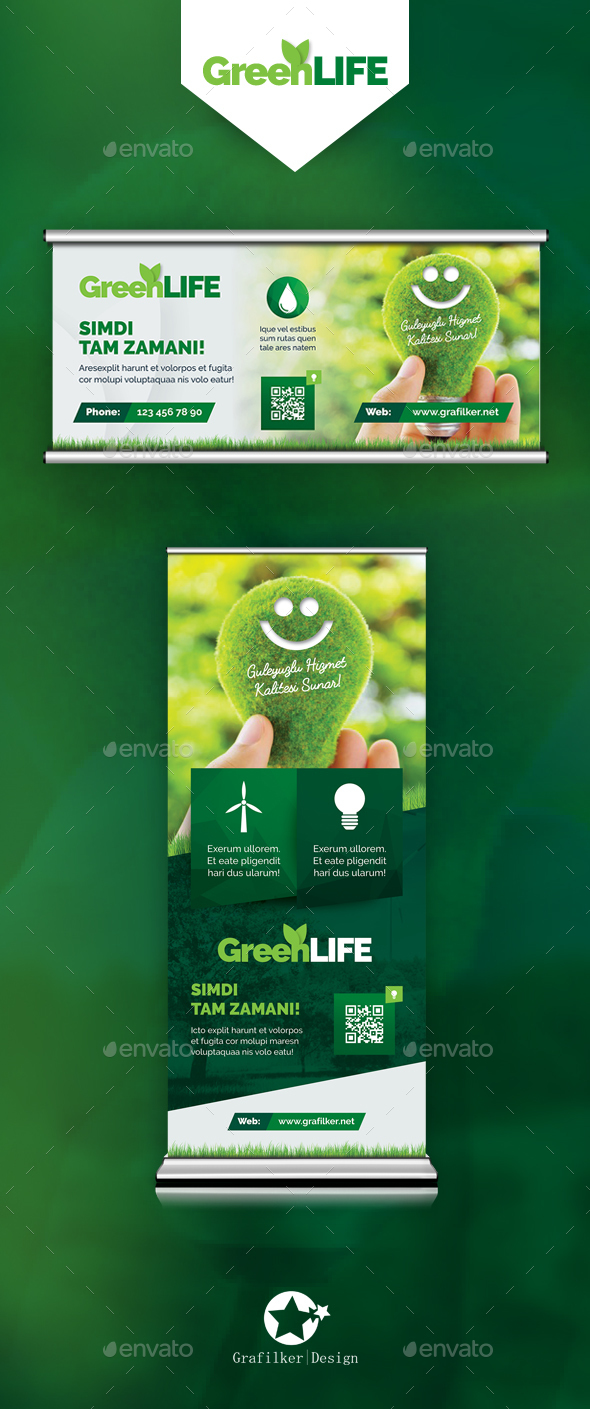 Green Energy Billboard & Roll-Up Templates - Signage Print Templates