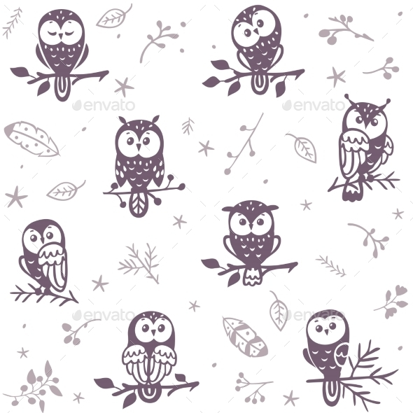 Owl Seamless Background - Animals Characters