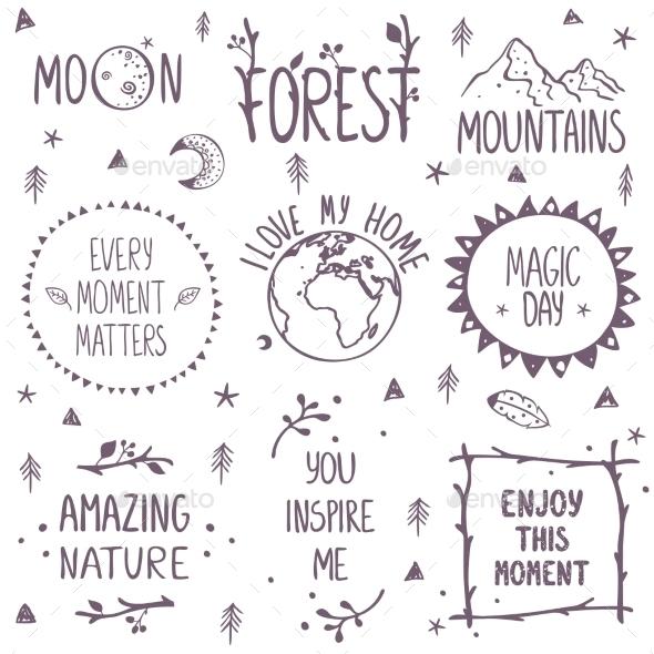 Nature Set Logo - Decorative Symbols Decorative