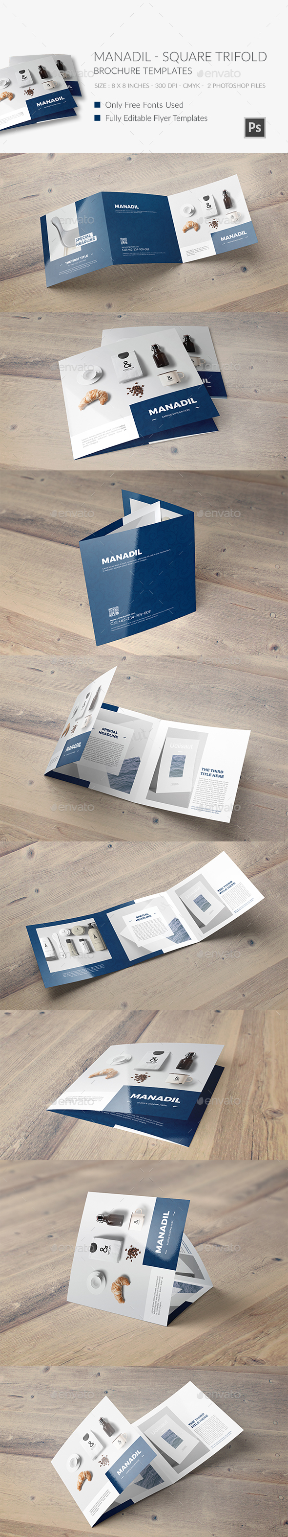 Manadil Square Trifold Brochure Template - Brochures Print Templates