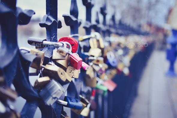 Locks of lovers on the fence on Staromestska side of Vltava near - Stock Photo - Images