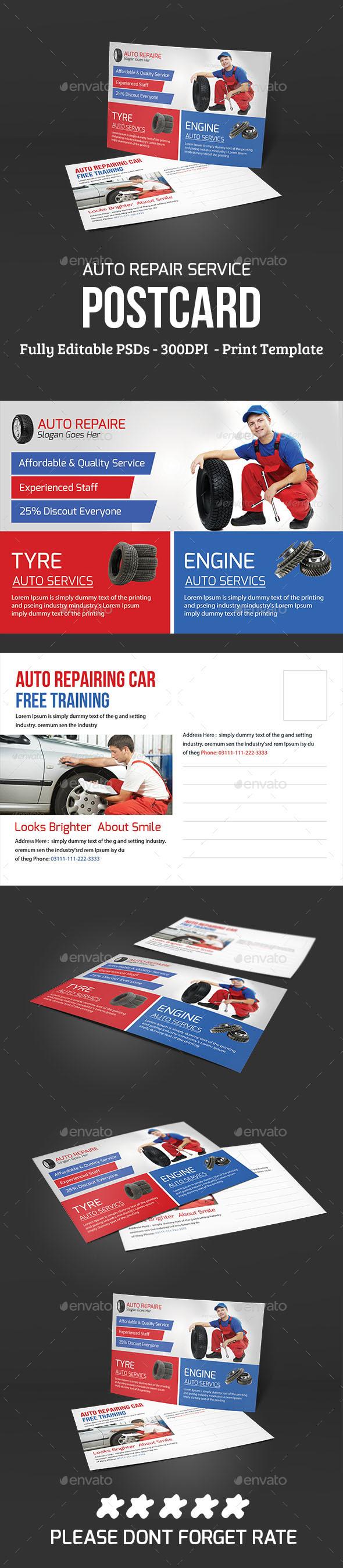 Auto Repair Service Post Card - Cards & Invites Print Templates