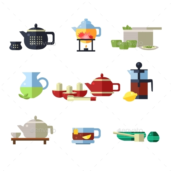 Tea Cup and Kettle Set - Food Objects