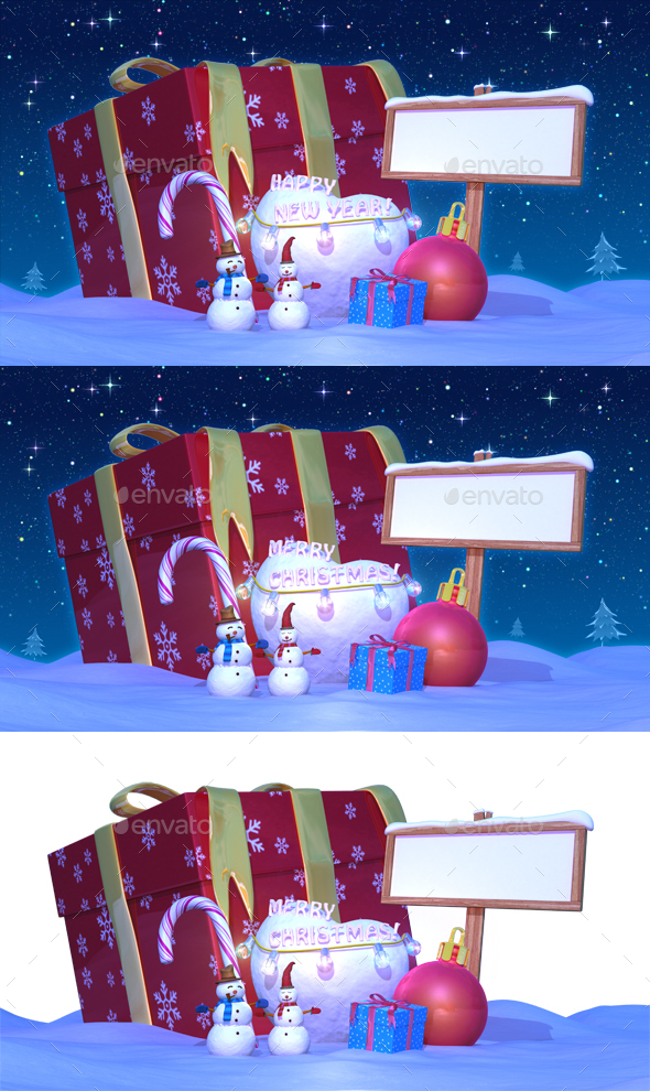 Christmas & Happy New Year Night with Presents - 3D Backgrounds