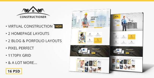 Constructioner - Modern Construction PSD Template - Business Corporate