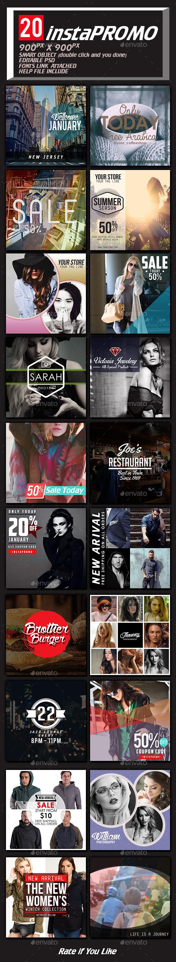 20 Instagram Templates - Social Media Web Elements
