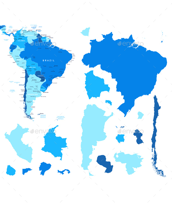 South America Map and Country Contours - Travel Conceptual