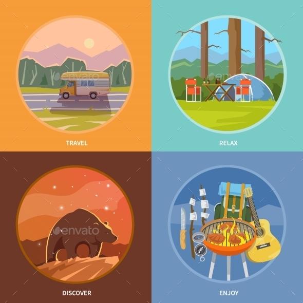 Square Flat Camping Illustrations - Travel Conceptual