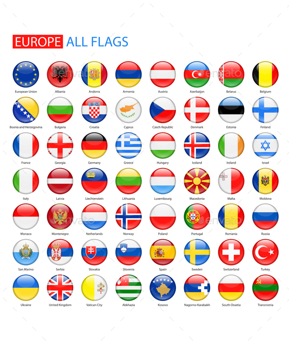 Glossy Round Flags of Europe - Web Elements Vectors