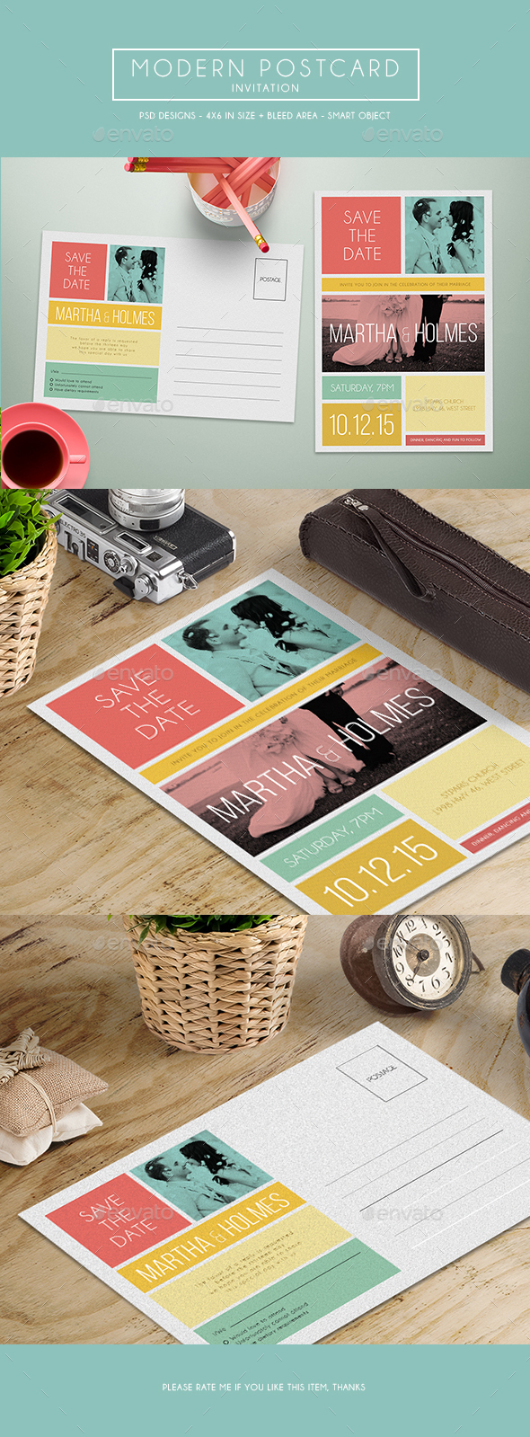Modern Postcard Invitation - Invitations Cards & Invites