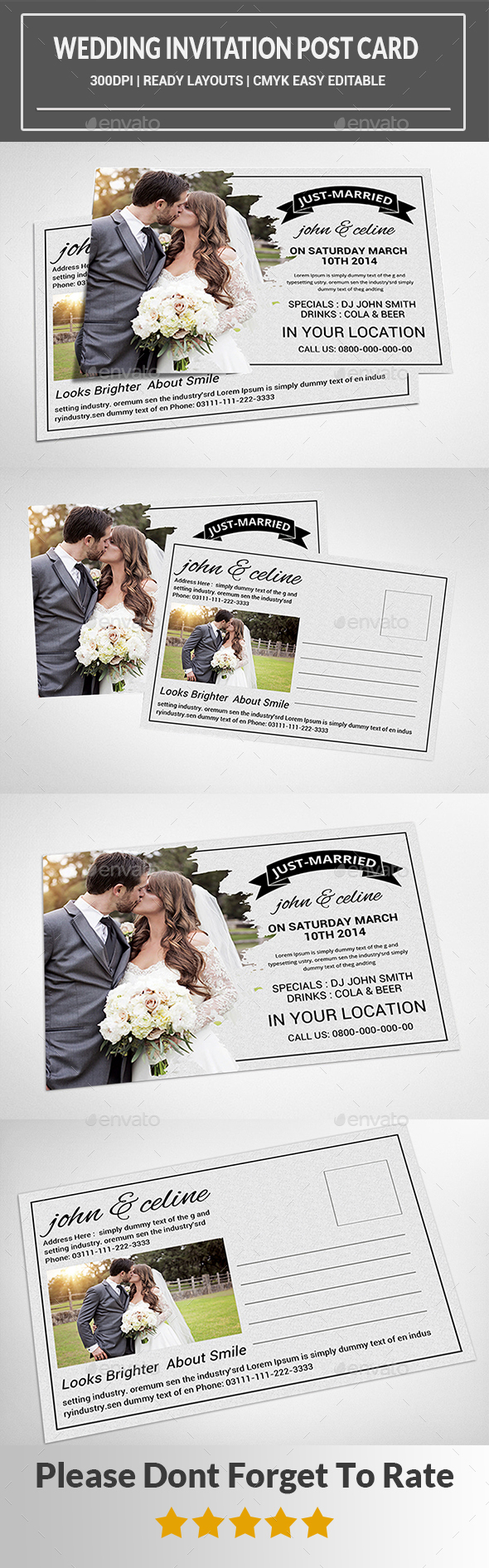 Wedding Invitation Template  - Cards & Invites Print Templates