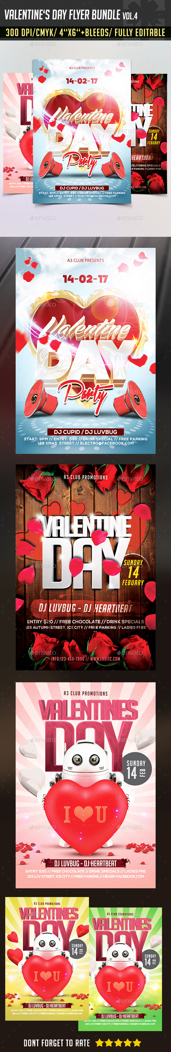 Valentine's Day Flyer Bundle v4 - Clubs & Parties Events