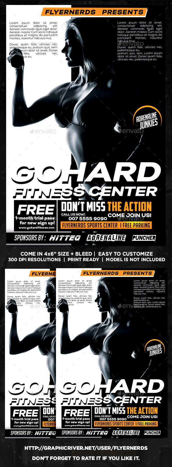 Go Hard Fitness Center Sports Flyer - Sports Events