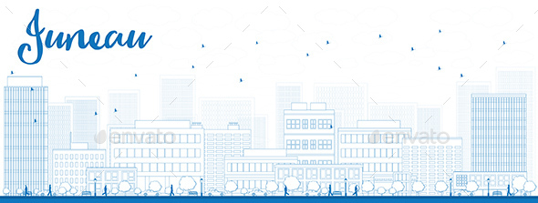 Outline Juneau Skyline with Blue Buildings - Buildings Objects