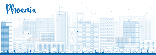 Outline Phoenix Skyline with Blue Buildings - Buildings Objects
