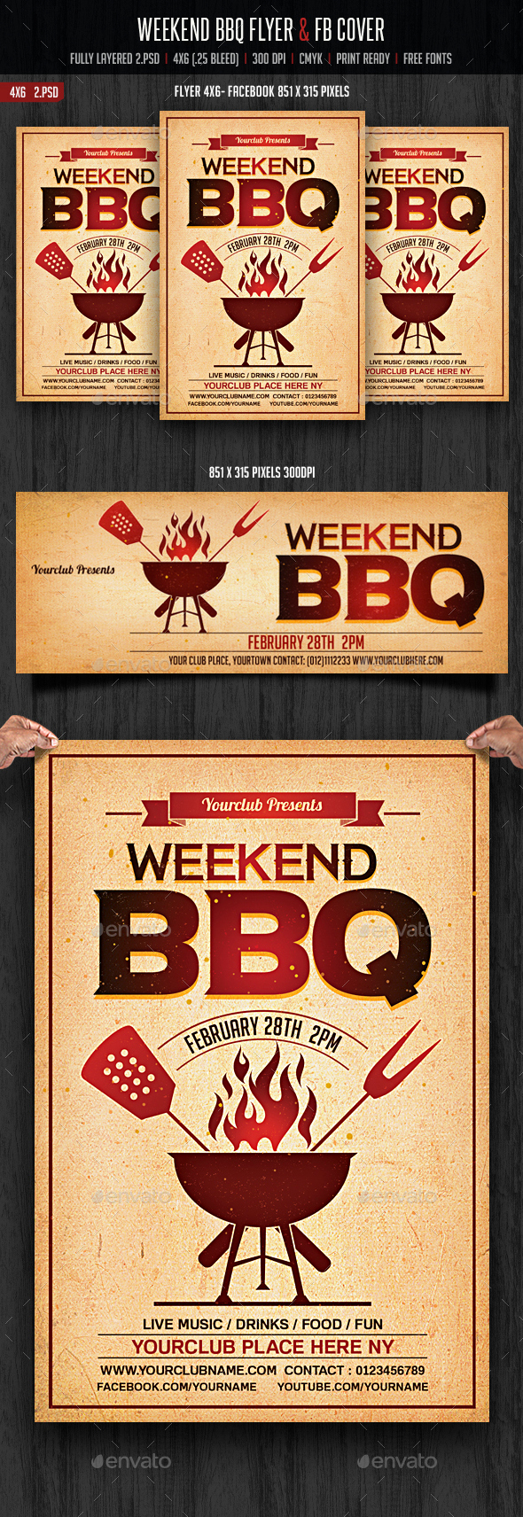 Weekend BBQ Flyer & FB Cover - Clubs & Parties Events