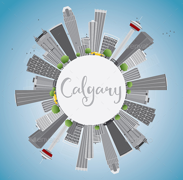 Calgary Skyline with Gray Buildings - Buildings Objects